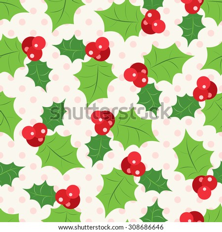 Seamless pattern of holly berry sprig.   illustration of christmas holiday design. Green and red colors. - stock photo