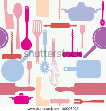 seamless pattern of kitchen tools.