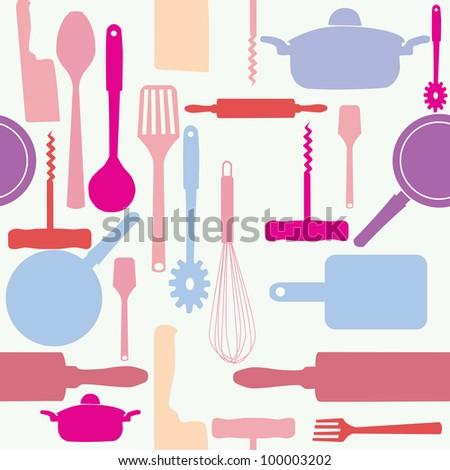 seamless pattern of kitchen tools. - stock photo