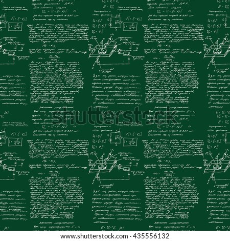 Seamless pattern of mathematical operation and equation, endless arithmetic pattern on seamless green chalk boards. Handwritten lesson. Geometry, math, physics, electronic engineering subjects. - stock photo