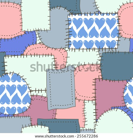 Seamless pattern of patches 6. Raster background - stock photo