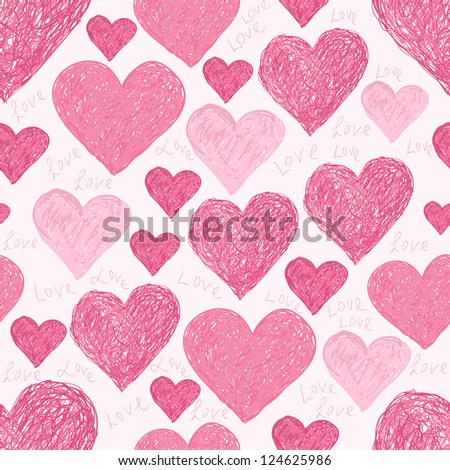seamless pattern of pink hearts and words I love you, made from vector - stock photo