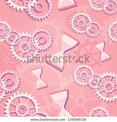 Seamless pattern of pink hourglass and gears. Raster copy. - stock photo