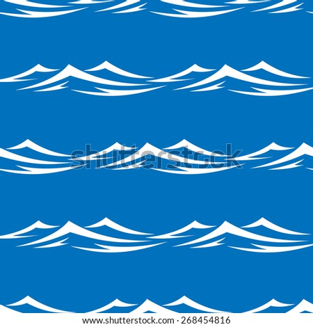 Seamless pattern of pretty white capped waves in a blue ocean or sea, vector illustration in square format