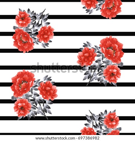 Seamless pattern of red flowers of peony on a white background with black horizontal stripes. Watercolor