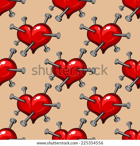 Seamless pattern of red hearts studded with nails conceptual of a broken or unrequited romance, heartbreak or ill-health - stock photo