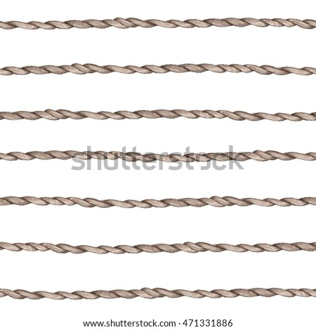 Seamless pattern of ropes. Watercolor painting. Handmade drawing.