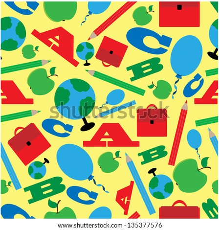 seamless pattern of school supplies.raster copy of vector file - stock photo