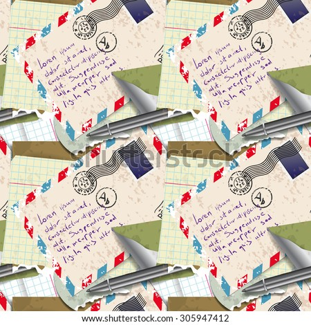 Seamless pattern of stationery, letter - stock photo