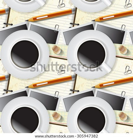 Seamless pattern of stationery, notepad and coffee - stock photo