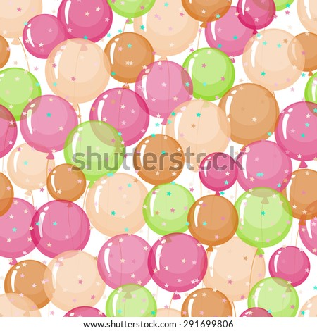 Seamless pattern of stylized, colored, transparent, inflatable balls. - stock photo