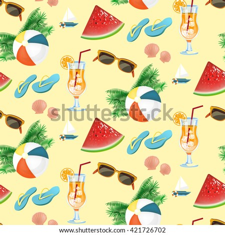 Seamless pattern of summer holiday icons set in flat design
