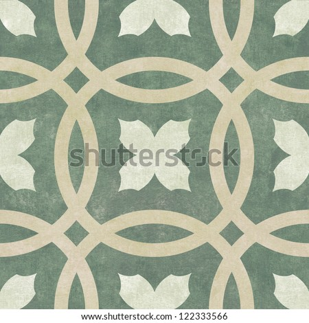 Seamless Pattern of Textured Circles and Floral Motif - stock photo