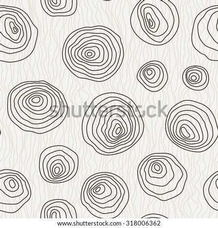 Seamless pattern of the curves manually drawn concentric circles - stock photo