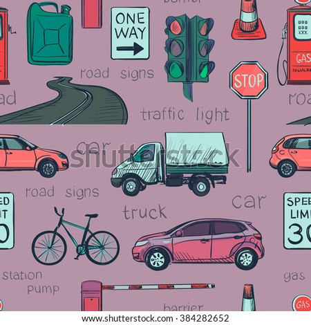Seamless pattern of Traffic Laws icons -traffic lights, signs, cars, road, police, attention and other