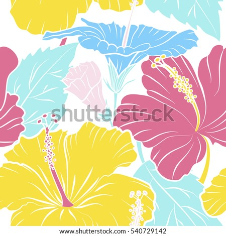 Seamless pattern of tropical hibiscus flowers in pink and yellow colors with watercolor effect on white background.