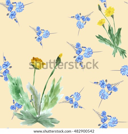 Seamless pattern of two bushes yellow dandelions and wild small blue flowers on a  beige background. Watercolor.
