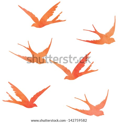 Seamless Pattern of Watercolor Textured Flying Birds Isolated on White Background - stock photo