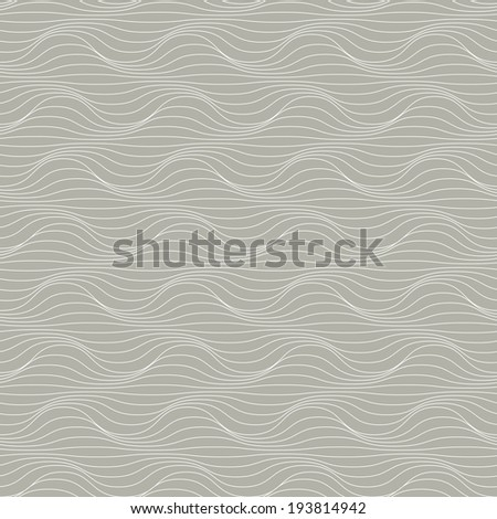 Seamless pattern of wavy lines. Decorative background with visual effect of volume folds. Simple ornamental illustration for print, web