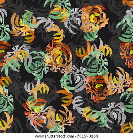 Seamless pattern of wild orange, green, gray flowers on the black background. Floral background. Watercolor