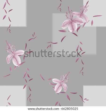 Seamless pattern of wild pink flowers and branches on a gray background with geometric figures and blurring. Watercolor