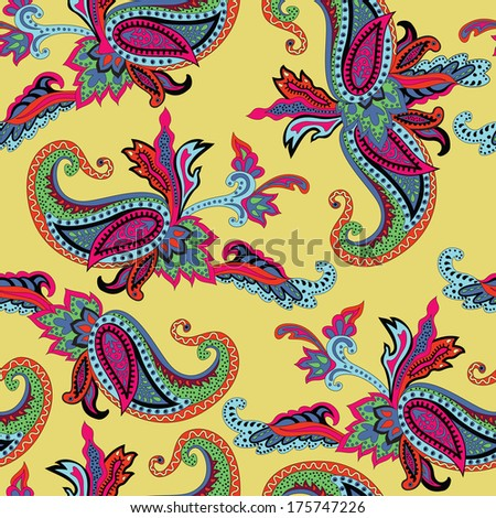 Seamless pattern on an Eastern theme with ornament Paisley. Raster background - stock photo