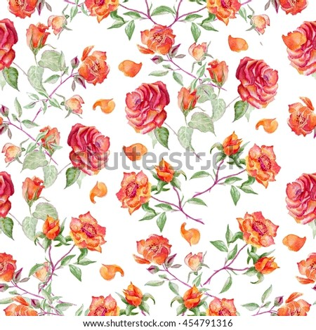 Seamless pattern on fabric as background. Rose fabric background. Watercolor rose. Seamless vintage flower pattern.
