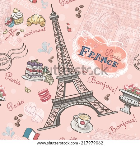Seamless pattern on Paris from the romantic elements - stock photo