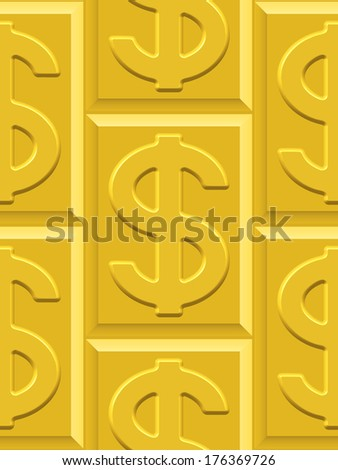 Seamless pattern on the gold dollar plates  - stock photo