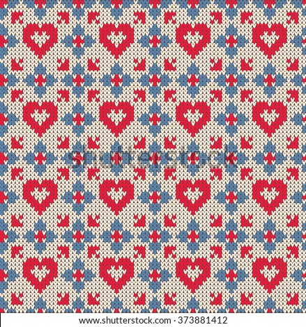 Seamless pattern on the theme of Valentine's Day with an image of the Norwegian patterns and hearts. Wool knitted texture - stock photo