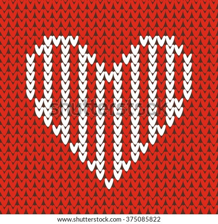 Seamless pattern on the theme of Valentine's Day with an image of the Norwegian patterns and hearts. Wool knitted texture. Illustration. - stock photo
