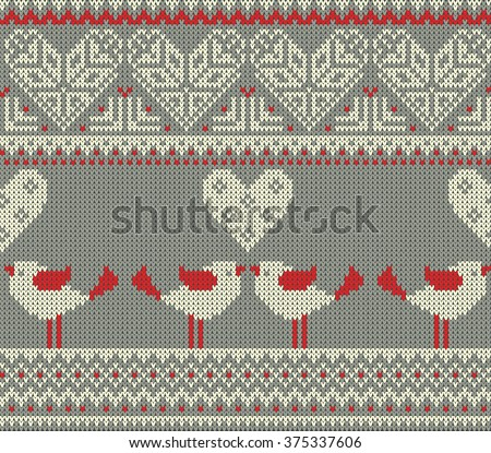 Seamless pattern on the theme of Valentine's Day with an image of the Norwegian patterns and hearts. Figure showing kissing birds. Wool knitted texture. Illustration - stock photo