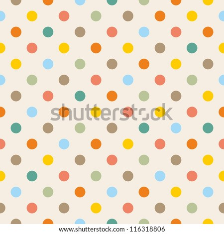 Seamless pattern or texture with colorful yellow, orange, pink, green and blue polka dots on beige background. For web design, baby shower card, party, scrapbooks. Sweet autumn or thanksgiving colors. - stock photo