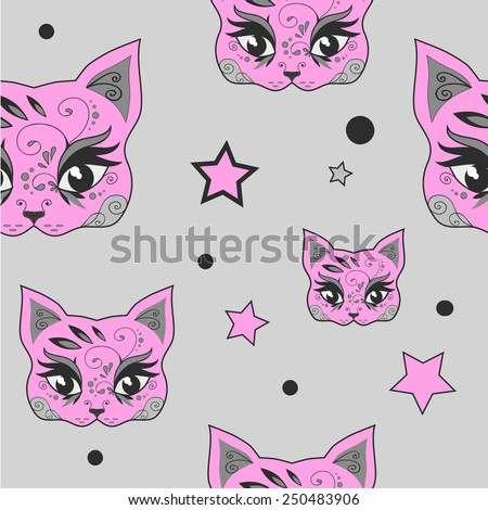 Seamless pattern pink cute cat. Raster version - stock photo