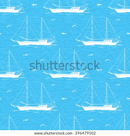Seamless Pattern, Sailboats Ships and Birds Gulls in the Sea, White Silhouettes on a Blue Background with Symbolical Waves.  - stock photo
