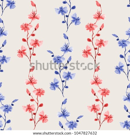 Seamless pattern small wild blue and red branchs of flowers on a light beige background. Watercolor