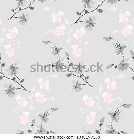 Seamless pattern small wild gray and pink flowers on a light gray background. Watercolor.