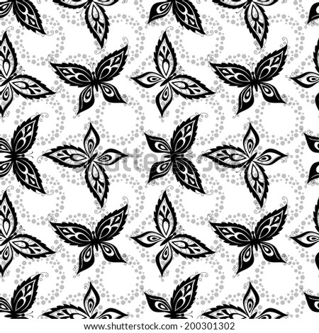 Seamless pattern, symbolical butterflies black contours on white background. - stock photo