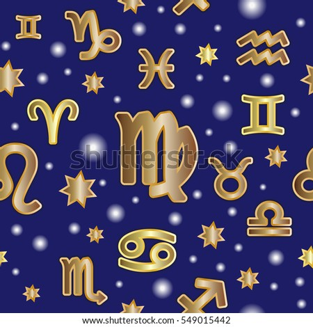 Seamless pattern. Symbols of zodiac signs on blue background.
