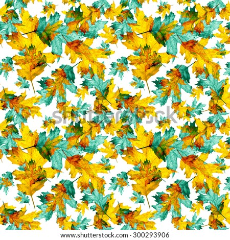 Seamless pattern, texture with colored watercolor maple leaves on a white background. Technique of painting, monotype - stock photo
