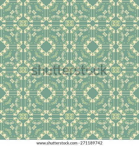 Seamless pattern. Vintage Background. Wallpaper for your design. Image texture. Old style. For design of cards, invitations, book, web design, wallpapers for walls. Damask  - stock photo