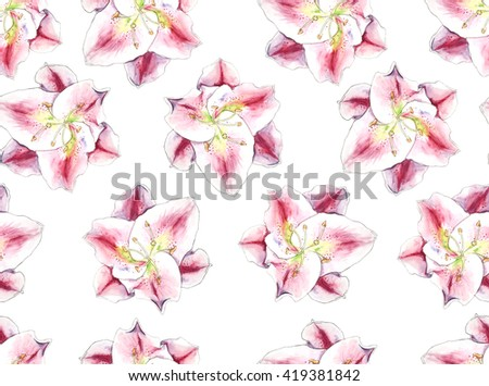 Seamless pattern Vintage Beautiful bright watercolor  lily flowers hand painted background on watercolor paper on a beige background. Colorful floral collection - stock photo