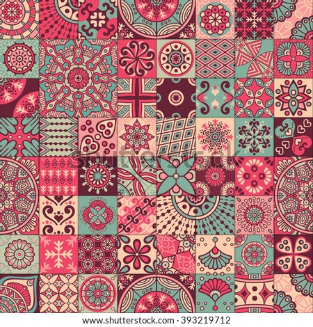 Seamless pattern. Vintage decorative elements. Hand drawn background. Islam, Arabic, Indian, ottoman motifs. Perfect for printing on fabric or paper. - stock photo