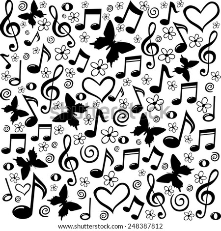 Seamless Pattern Wallpaper Of Musical Notes Illustration