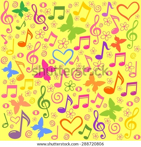 seamless pattern wallpaper of musical notes. Illustration - stock photo