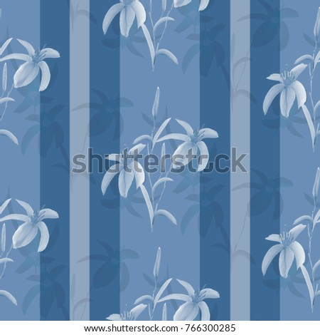 Seamless pattern watercolor blue flowers on a deep blue background with gray vertical stripes