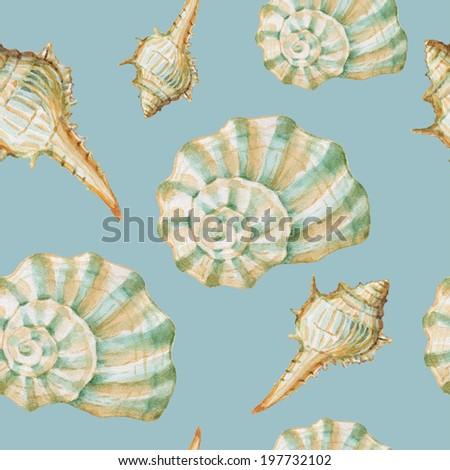 Seamless pattern, watercolor seashells - stock photo