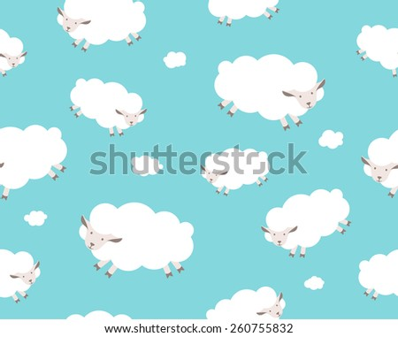 Seamless pattern. White sheep and cloud on the blue sky. Illustration - stock photo