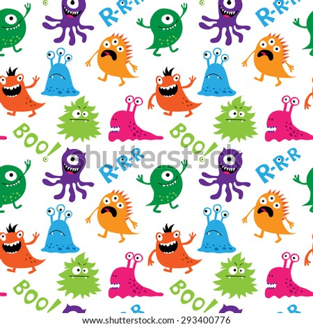 Seamless pattern with a cute monsters and inscriptions - stock photo