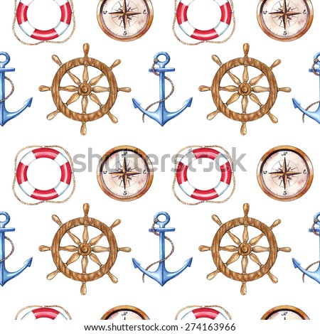 Seamless pattern with anchors, helm, compas and lifebuoy